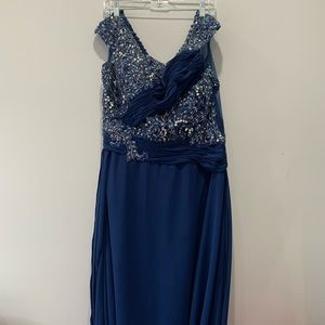 Anny Lee XL Gown Dress Beaded Navy Blue